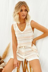 Runway Scout Hold Your Own Set Peach Stripe Two Piece Size Medium / Large