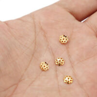 100pcs Stainless Steel Gold Hollow Flower Bead Caps for DIY Jewelry Making 6mm