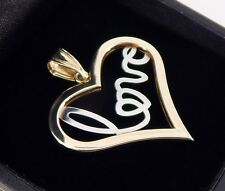 Zales LOVE Heart Pendant in 10K Two-Tone Gold
