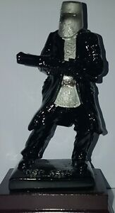 Ned Kelly Statue / Figurine Metallic Black & Silver 12cm Tall on Wooden Base