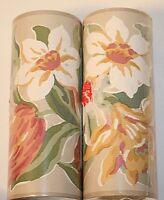 Two Laura Ashley Tulips Multi Pale Taupe Wallpaper Border 32 Ft. Long Ea