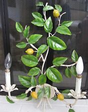 Vint Italy LEMONS TOLE WALL SCONCE 2 Light Painted Grn Yellow Metal Mid Century