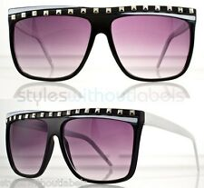 80s RETRO FRAME FLAT TOP SUPER PARTY ROCK GLASSES SUNGLASSES BLACK N WHITE FRAME