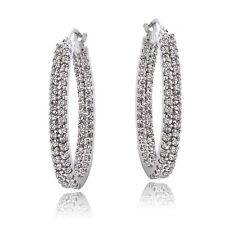925 Sterling Silver CZ 2-Row Inside Out Hoop Earrings