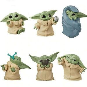 6Pcs Star Wars Yoda Jedi Mandalorian Baby Master Action Figure Toys Cake Topper