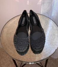 Melissa Campana Papel VII Jelly Flat Womens Size 9 Glitter Shoes Black