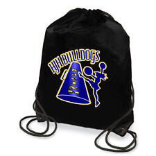 Personalized Cheerleading Silhouette & Megaphone Drawstring Backpack