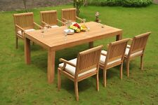 Sack Grade-A Teak Wood 7Pc Dining Canberra Rectangle Table 6 Arm Chair Set Patio