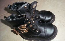 Pink Label Black Double Buckle Boot Sz 5