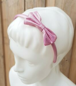 New Claire's Girls Hair Accessorie Plastic HeadBand Pink Glitter Bow