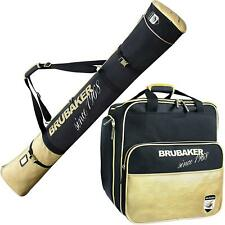 BRUBAKER Ski Bag Combo - Boot Bag and Ski Bag - Black/Golden - 170 or 190