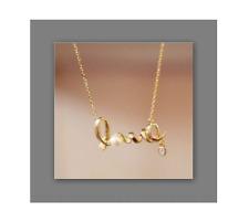 collier chaîne pendentif doré breloque LOVE amour strass !idée cadeau !NEUF