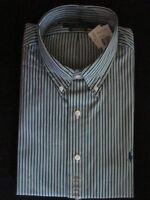 Ralph Lauren Custom Fit Green,Black & White Stripe Shirt - NWT-