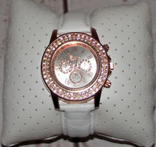 DESIGNER INSPIRED Rose Gold Crystal Diamond Wristwatch Quartz Ivory Leather  £24