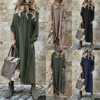 ZANZEA Women Buttons V Neck Asymmetrical Shirt Dress Oversize Loose Midi Dress