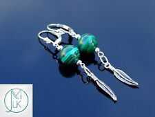 Natural Malachite Gemstone Om Feather 925 Sterling Silver Earrings Crystal