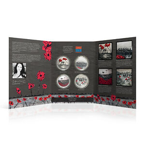 War Poppy Collection Silver Coin/Medal - Remember and Reflect Complete Bundle