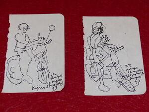 [Coll.R-JEAN MOULIN ART XXe] LADISLAS KIJNO (FR) 2 DESSINS ORIGINAUX 1993 MOTO