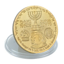 Gold Plated 2018 King Cyrus Donald Trump Coin Jewish Temple Jerusalem Israel New