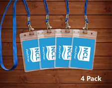 4 Transparent Norwegian Cruise Lines I.D. Holders & Lanyards NEW AND REUSABLE