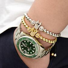 Luxury Women Men Gold Silver Zircon Crown Bead King Crown Bracelets Jewelry