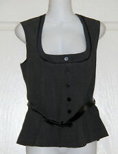 Womens size 10 grey button down dress vest made by TARGET - comes with belt