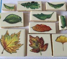 *Sale-Large Colorful Leaves -10 Ceramic Mosaic Tiles Handmade Kiln Fired