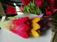 Groß Filz Wolle Blüte Blume Tulpe Filzblüte Filzblume Wollfilz Filzen Nähen