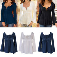 Fashion Ladies Women Lace Round Neck Long Sleeve Loose Blouse T-Shirt Tops Tee