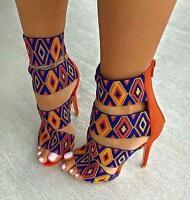 Stiletto High Heel Womens Strappy Open Toe Platform Sandals Zip Pump Shoes