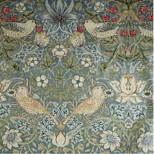 Oilcloth Fabric Offcut, William Morris Strawberry Thief, Slate and Vellum