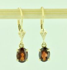 Dangling 1.90 ct  Natural Oval Garnet Earring Yellow gold 14K leverback January