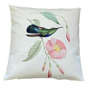 *SALE* Hibiscus Hummingbird - 40cm Ivory cushion cover botanical/bird/tropical
