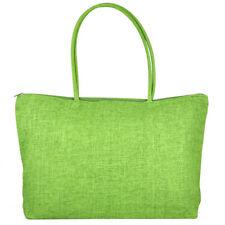 Ladies Straw Weaving Summer Beach Tote Zippered Bag - Light Green UKBO