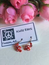 Silvertone Small Mushroom Red with White Dots Dangle Earrings