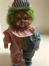 "Mc Toy Vintage Clown Doll Cloth Stuffed Body, Plastic Face/Hands/Legs 8"" Tall"