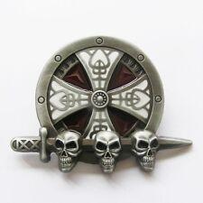 Round Iron Cross Knot Sword w/ Skulls Belt Buckle