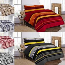 Duvet Cover Set Single Double Super King Printed Check Pillowcases Polycotton
