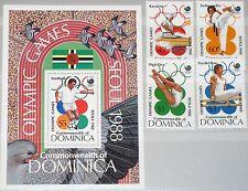DOMINICA 1988 1081-84 Block 127 1069-1073 Olympics Seoul Tae Kwon-do Sports MNH