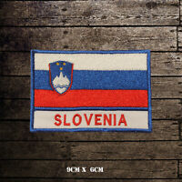 SLOVENIA Flag With Name Embroidered Iron On Sew On Patch Badge For Clothes Etc