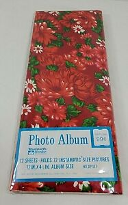 VTG NOS Woolworth Photo Album - Holds 72 Instamatic Size Pics-Red Floral Design