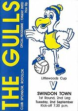 Football Programme>TORQUAY UNITED v SWINDON TOWN Sept 1986 Littlewoods Cup