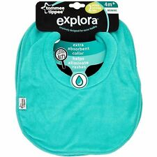 2x Tommee Tippee Explora Dribble Catching Soft Absorbant Weaning Boys Bibs Blue