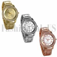 Men's Luxury Gold Silver Rosegold Tone Stainless Steel Band Analog Quartz Watch