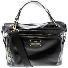 Juicy Couture Womens Ever After Black Logo Satchel Handbag Purse Large BHFO 6315