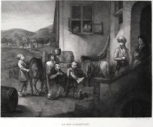 PARABOLA BUON SAMARITANO Rembrandt Good Samaritan Incisione Originale 1800