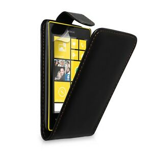 Nokia Lumia 520 Black Leather Flip Case Cover + Free Plastic screen protector