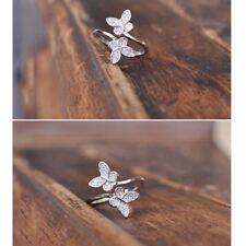 925 Sterling Silver Butterfly Open Rings Finger Adjustable Engagement Women