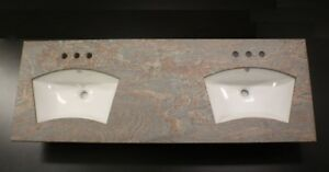 "Double Eye Brow Sink MultiColor Red Granite Top 61"" Bathroom Vanity 8"" Spread"