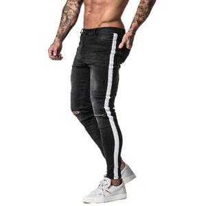GINGTTO Skinny Jean Men Tape Side Distressed Slim Fit Stretch Denim Trousers
